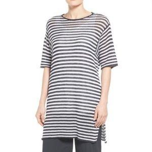 Eileen Fisher Striped Open Weave Knit Tunic